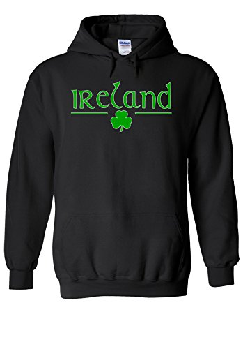 Ireland Flag Sweatshirt (Ireland Clover National Flag Country Novelty Black Men Women Unisex Hooded Sweatshirt Hoodie-L)