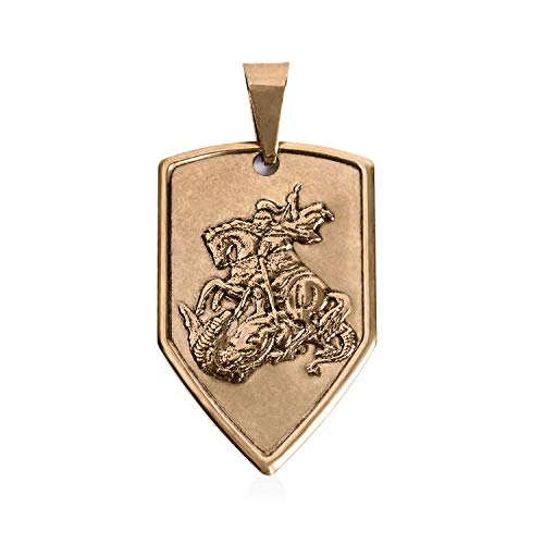 - St George 14kt Yellow Gold Filled Medal Pendant Necklace, Religious Christian Jewelry of Patron Saint George and The Dragon for Men and Women, Antique Finish Medal