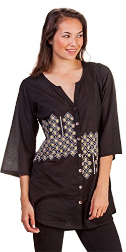 (Peppermint Bay 2/3 Sleeve Button Front Cotton Tunic Top in Sol (Small (6-8), Black/Sun Print))