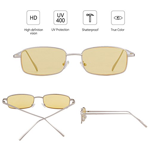 Square Yellow Retro ADEWU Fashion New Glasses Sunglasses Women Frame for Silver Men Lens 8wttHd