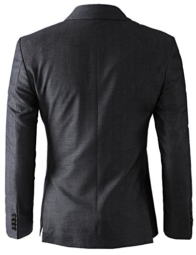H2H Men's Casual Double-Breasted Jacket Slim Fit Blazer Charcoal US XL/Asia 3XK (KMOBL0125) by H2H (Image #5)