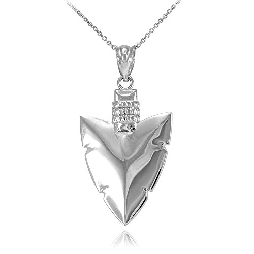 925 Sterling Silver Serrated Arrowhead Pendant Necklace, 20