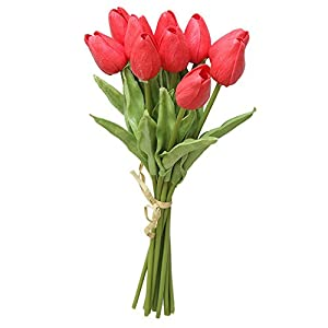 Juesi 10Pcs/Set PU Holland Mini Tulip Artificial Flower Real Touch for Wedding,Room,Home,Hotel,Party Decoration and Holiday Gift 103