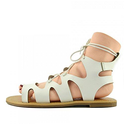 Kick Footwear - Kick Schuhe Damen Mode Sommer Casual-Sandalen Leder Schuhe White F0976