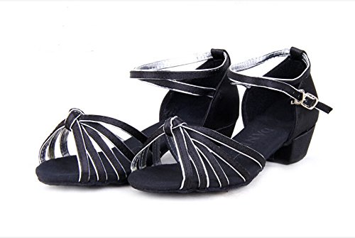 Girls Satin Striped Knot Latin Ballroom Dance Shoes Two-tone Soft Suede Sole Dancing Sandals(2, Black/silver) by staychicfashion (Image #3)
