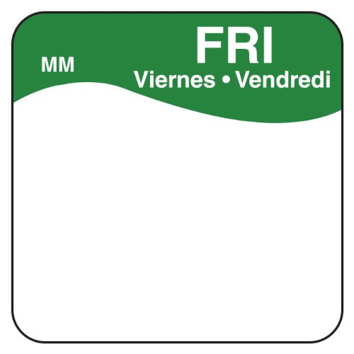"DayMark IT1100345 MoveMark Day of the Week Trilingual Removable Label, Friday, 1"" x 1"", Green (Roll of 1000) T2DQbMcz"