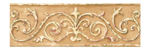 York Wallcoverings Small Treasures Architectural Scrollwork Prepasted Border TanCreamGreenCranberry
