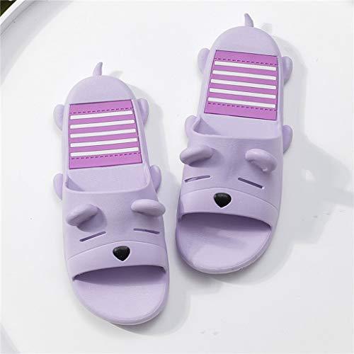 Purple De Chaussons Cute 39 Summer HUYP Summer Salle Sandals Flat Bains Et Douche Home Girl Slippery Pantoufles Taille 5qvqFw