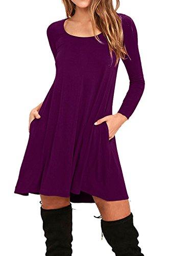 AUSELILY Women's Pockets Casual Swing T-shirt Dresses (M, Long sleeve-Purple) (M&m Dress)