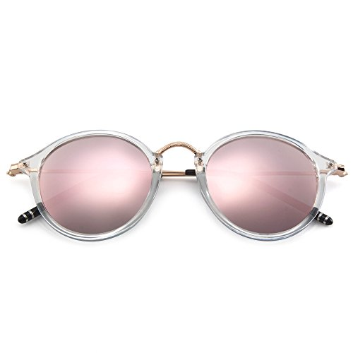 MT MIT Classic Retro Small Round Polarized Mirror Lens Metal Frame Unisex Sunglasses(Transparent_Pink)