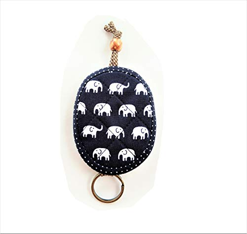 (Thai Elephant Key Cover Fob Cotton Oval Shaped Fabric Navy Blue Key Chain Holder Pouch Case Ring Car Home Handicraft Handmade Gift Valentine Women Men Adult Girl Cute)