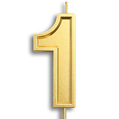 "Dollet 3.93"" Large Gold Birthday Candle Number 1 Cake Candle Topper for Kid's/Adult's Birthday Party : Grocery & Gourmet Food"