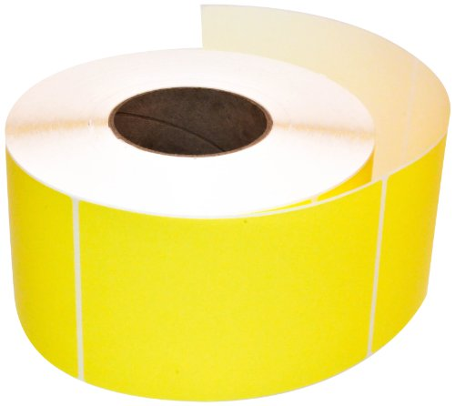 Compulabel 640091 Thermal Transfer Shipping Labels, 4 inch x 6 inch, Pastel Yellow, Permanent Adhesive, Perforations Between Labels, 1000 Per Roll, 4 Rolls