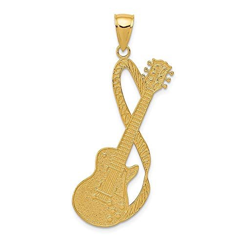 14k Yellow Gold Large Guitar Strap Textured Pendant Charm Necklace Man Musical Instrument Fine Jewelry Gift For Dad Mens For Him