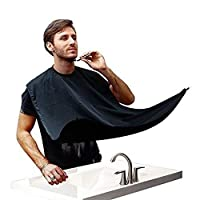 LIHAO Beard Bib, Beard Catcher for Shaving and Grooming, Hair Clippings Catcher & Grooming Cape Apron with Suction Cups - Black