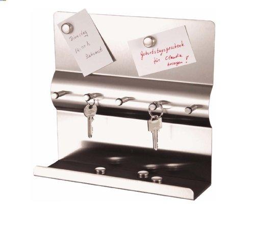 Edelstahl Schlüsselbrett mit Magnetwand + Magnete Schlüsselleiste mit Magnettafel Schlüssel-und Memoboar Schlüsselbrett 24 x 24 x 7 cm