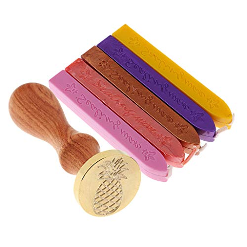 BROSCO 5X Wax Stick+Initial Sealing Wax Stamp Seal Pineapple for Xmas Greeting Card ()