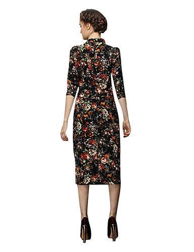 PU&PU Robe Aux femmes Gaine Vintage,Fleur Col Ras du Cou Midi Polyester , black-2xl , black-2xl