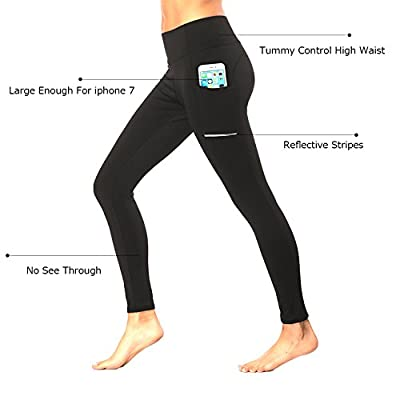 Olacia Women Workout Leggings Exercise Pants Black High Waisted with Pocket Yoga Tummy Control Athletic Capri