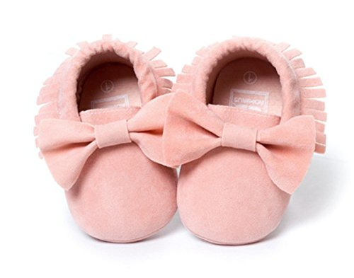 BININBOX Baby Boys Girls First Walkers Tassel Soft Anti-Slip Crib Shoes Sandal Unisex Infant Prewalker Toddler (13cm(12-18moths), Pink) Flannelette Crib