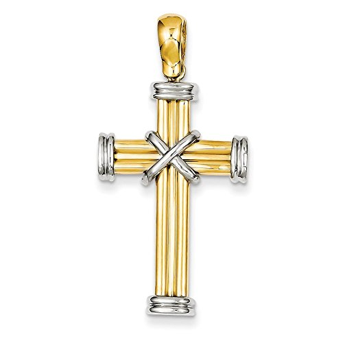 Lex & Lu 14k Two-tone Gold Latin Cross Pendant LAL74808-Prime (Cross Gold Pendant 14k Two Tone)