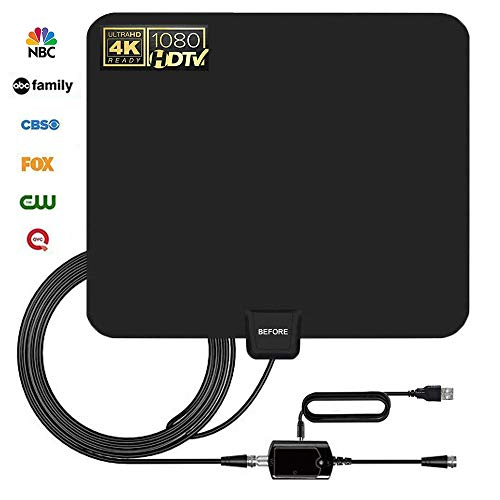 [2019 Newest] HDTV Antenna,Indoor Digital TV Antennas Amplified 80 Miles Range Amplifier Signal Booster for 1080P 4K Free TV Channels (Black) -Support All TVs-13.5ft Coax Cable