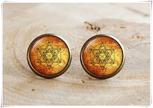 no see long time Metatron's Cube Earrings, Sacred Geometry Jewelry, Geometric Earrings, Sacred Geometry Earrings,Round Stud