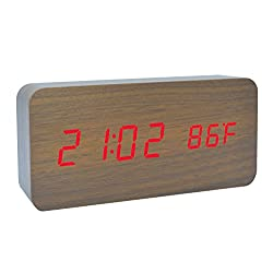 Wooden Alarm Clock LED for bedrooms living room decor Desktop Electronic Travel Home Modern Fashion Calendar Digital Displays Date Time Temperature with Voice Control Features (Brown Wood Red Light)