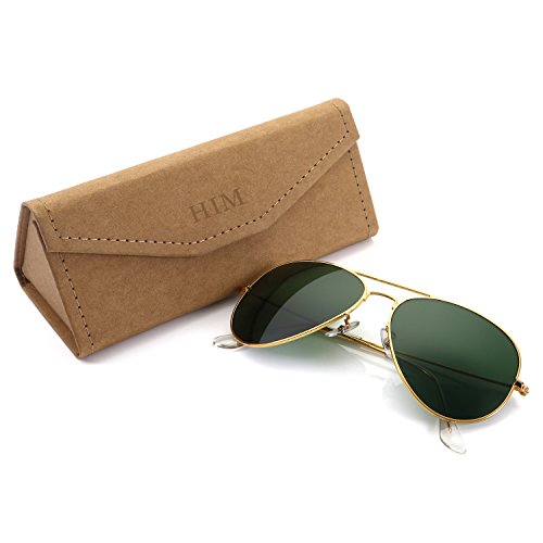 Dark Green Frame - Aviator Sunglasses Polarized for Men Women,Flash Mirror Lens UV400 Sunglasses Eyewear with Sun Glasses Case (Dark Green Lens/Gold Frame)