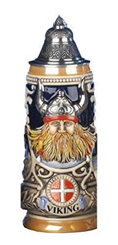 German Beer Stein Viking stein Leif the red Erikssen 0.5 liter tankard, beer mug KI 303-V 0,5L by ISDD Cuckoo Clocks