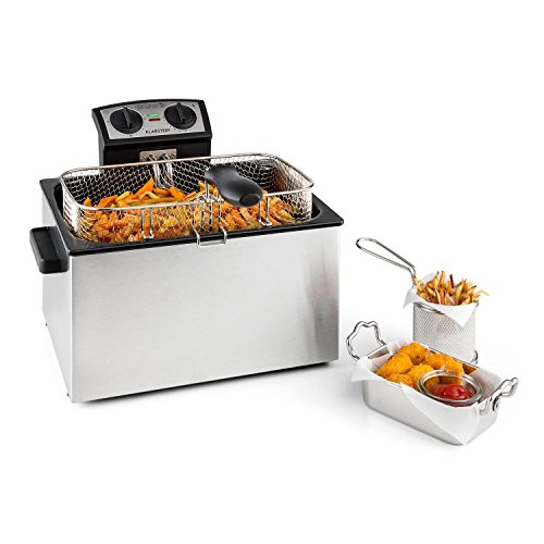 Klarstein Quickpro XXL Professional Deep Fat Fryer with 5L Tank for up to 1.5kg-Cold Zone, 3000W-Stainless Steel Silver