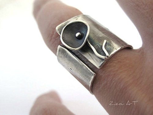 Wide Band Silver Ring Black Flower oxidized handmade by Zizou