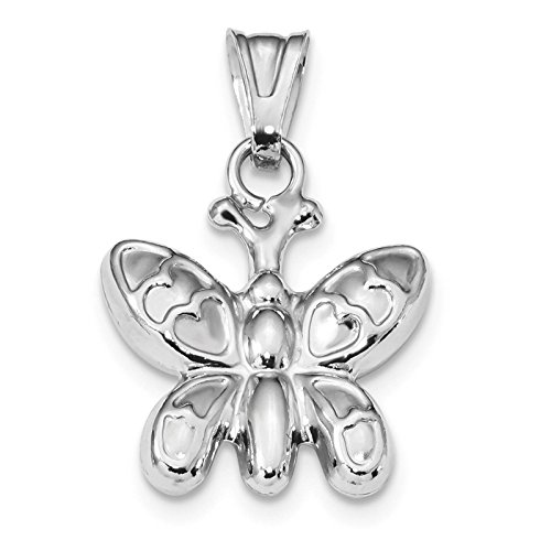 - 925 Sterling Silver Rhodium-plated Polished Puffed Butterfly Charm Pendant