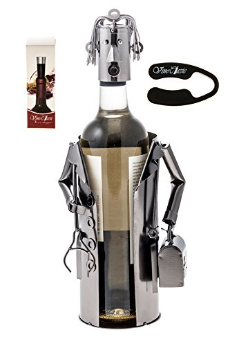 Fabulous Doctor (Holding a Stethoscope Plus a Doctors Case) Wine Bottle Holder , Genuine Hand Made ,Metal Figurine with a wine foil cutter and wine a stopper