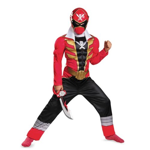 [Disguise Saban Super MegaForce Power Rangers Red Ranger Classic Muscle Boys Costume, Large/10-12] (Power Rangers Megaforce Halloween)