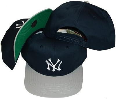 American Needle New York Yankees Navy/Grey Two Tone Plastic Snapback Adjustable Plastic Snap Back Hat/Cap