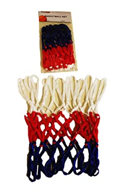 "Replacement All Weather Mini Basketball Net - Red/White/Blue ~ 12 White Loops, Stretches to 11.25"" Height"