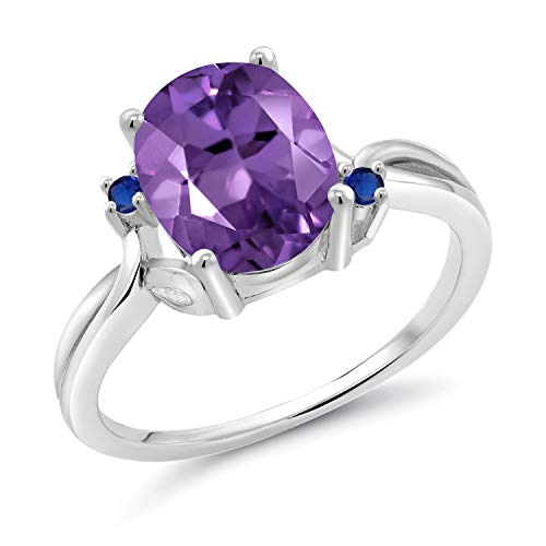Gem Stone King 2.34 Ct Oval Purple Amethyst Blue Created Sapphire 14K White Gold Ring (Size 9)