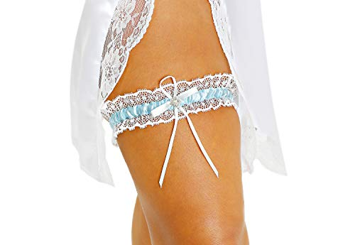 LR Bridal Blue Lace Wedding Bridal Garter with Rhinestone Satin Bow for Brides
