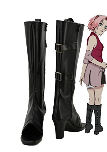 NARUTO-Anime-Haruno-Sakura-Cosplay-Shoes-Boots-Custom-Made