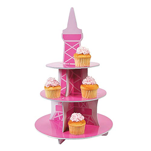 Fun Express - Perfectly Paris Cupcake Holder for Birthday - Party Supplies - Serveware & Barware - Misc Serveware & Barware - Birthday - 1 Piece