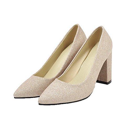 AalarDom Femme Fermeture d'orteil Tire Tissu à Paillette Chaussures Légeres Doré BMNuTXnq