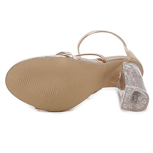 Zapatos sandalias bomba de PU Comfort Primavera de Chunky Verano Talón mujer Gold básica ZHZNVX Informal Oro TdCBxRC