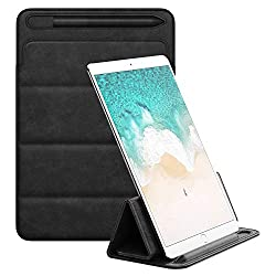 """MoKo 12.9 Inch Tablet Case Sleeve Compatible with Apple iPad Pro 12.9 2018/ iPad Pro 12.9""""(2017 & 2015), PU Leather Protective Cover, Ultra Lightweight Tri-fold Stand Pouch Case with Pen Holder, Black"""