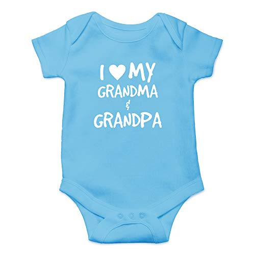 CBTwear I Love My Grandma & Grandpa - Spoiled by The Grandfathers - Cute Infant One-Piece Baby Bodysuit (Newborn, Light Blue) -