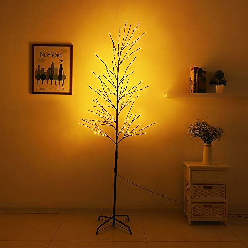 WED 200LED Branch Lights Tree Light, Twig Light Willow Warm White Light 6Ft Floor Lamp for Home Party Indoor and Outdoor Christmas Decoration