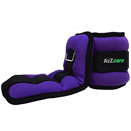 A2ZCare Adjustable Ankle Weight / Wrist Weight Set with Neoprene Padding for Soft, Comfortable Feel (Purple (1.5 lbs Pair))