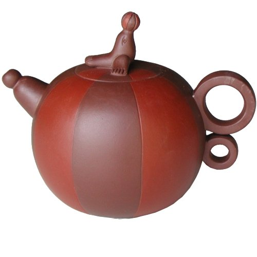 Brown Unique Playful Seal 14 Ounce Yixing Clay Teapot