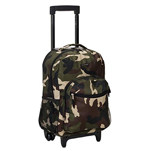 Camouflage Rolling Backpack - Rockland Luggage 17 Inch Rolling Backpack, Camouflage, Medium