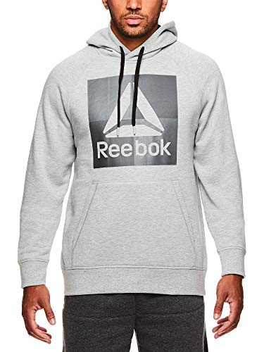 - Reebok Men's Performance Pullover Hoodie - Graphic Hooded Activewear Sweatshirt - Grey Air Squat, Large